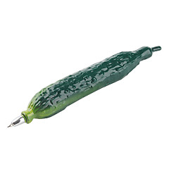 Cucumber Shaped Blue Ink Ballpoint Pen with Magnet (Green)