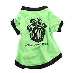 Köpekler Tişört Yeşil Köpek Giyimi Yaz Harf & Sayı Günlük/Sade