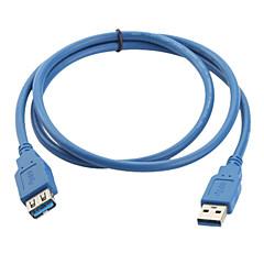 USB 3.0 aa hann til hunn skjøteledning (1m, blå)