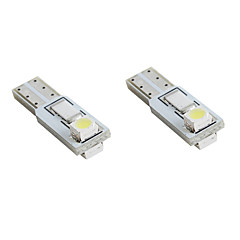 T5 2*1210 SMD White LED Car Signal Lights (2-Pack, DC 12V)