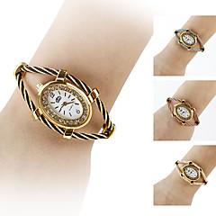 femmes de style ovale en acier boîte de montre analogique bracelet montre à quartz (couleurs assorties)