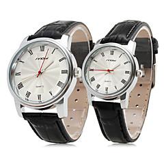 Пара элегантных пу пару кожаных стиль аналоговые кварцевые наручные часы (черный)