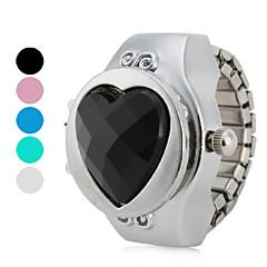 kvinnors hjärtformade stil legering analoga kvarts ring klocka (blandade färger)