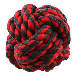 犬用品 おもちゃ ボール型 織物 レッド