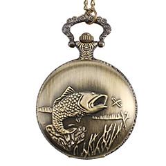 unisex Fisch-Legierung Analog Quarz Taschenuhr (Bronze)
