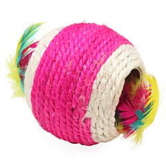 Juguete para Gato Juguetes para Mascotas Bola Juguetes con Plumas Tejido Textil