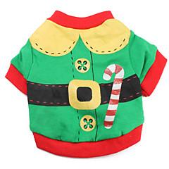 Santa Claus Style Cotton T-shirt til hunde (Green, XS-L)