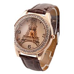 Damen Modeuhr Imitation Diamant Quartz PU Band Eiffelturm Bequem Schwarz Weiß Rot Braun Rose