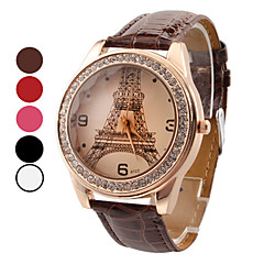 Women's Watch Luxury Diamond Eiffel Tower PU Band Strap Watch Cool Watches Unique Watches Fashion Watch