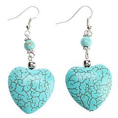 Jadeite Peach Heart Shape Turquoise Earrings
