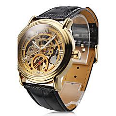 WINNER® Men's Auto-Mechanical Gold Dial Black PU Band Wrist Watch Cool Watch Unique Watch