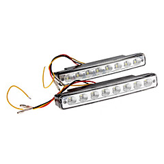 1.5W 8-LED de luz blanca de coches Faros diurnos (2-Pack)
