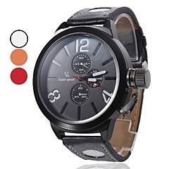 Men's Quartz PU Analog Wrist Watch (Black) Cool Watch Unique Watch