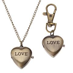 גברים לנשים יוניסקס שעוני אופנה שעון שרשרת קווארץ להקה וינטאג' Heart Shape ברונזה מותג