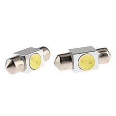 31mm 1W White Light Pinol LED Pære til Car Reading Lamp (12V, 2-Pack)