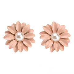 Lovely Pink Pearl Stud Earrings Little Daisy Flowers