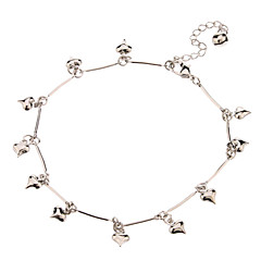 Cute Heart With Bell Pendant Metal Anklet(Platinum)