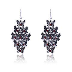 European Style Retro Oil Drip Butterfly Rhombus Alloy Drop Earrings