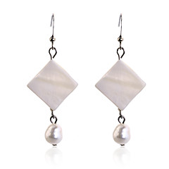 European Style  fashion square shell pearl silver plating Earrings