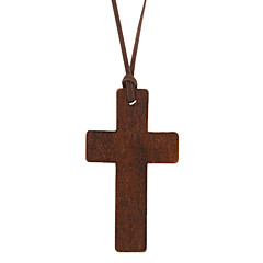 Brown Pendant Necklaces Leather / Wood Daily Jewelry