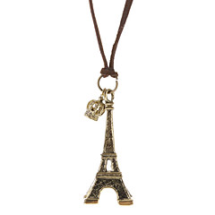 A Torre Eiffel eo Crown Colar Vintage Leather Cord