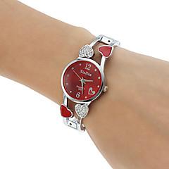 Dames Modieus horloge Armbandhorloge Kwarts imitatie Diamond Legering Band Heart Shape Bangle armband Zilver Wit Zwart Paars Rood Roze