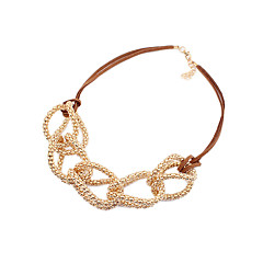 Alloy Hollow-out Cross Pattern Leather Necklace