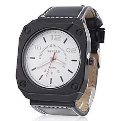 Men's PU Analog Quartz Wrist Watch (Black)