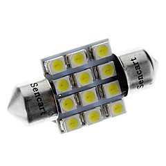 31mm 1W 12x3528SMD 50LM 6000-6500K White Light LED Bulb for Car (12V)