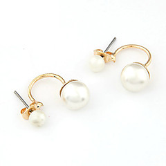 Gold Plated Alloy Pearl Semi-Bents Earrings