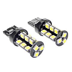 T20 27x5050SMD 5W 400LM 6000-6500K White Light Bulb LED para carro (DC 12V, 1-Par)