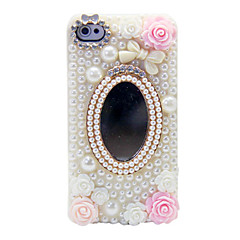 Pearl Flower Mirror Ornament Back Case for iPhone 4/4S