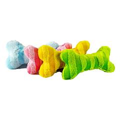 애완 동물 개를위한 다채로운 줄무늬 뼈 모양 견면 벨벳 장난감 (분류 된 색깔)