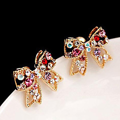 Stud Earrings Rhinestone Alloy Golden Jewelry Daily