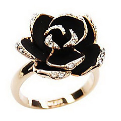 Statement Rings Alloy Simulated Diamond Flower Golden Jewelry Daily 1pc