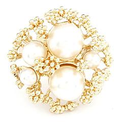 Elegant Golden Large Imitation Pearls Buds Temperament Ring