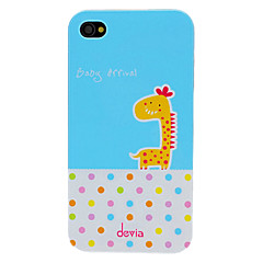 Avvik Adorable Cartoon Giraffe and Round Dots Mønster PC vanskelig sak for iPhone 4/4S