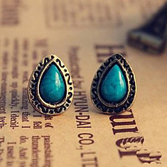 Women's Retro Ethnic Blue Pine Carved Gemstone Earrings E12