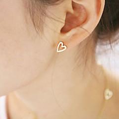Heart Stud Earrings Jewelry Women Heart Party Daily Alloy Gold Silver
