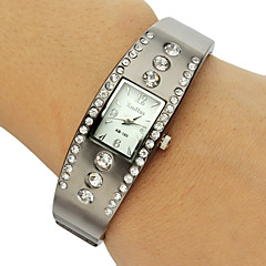 Rectangle Dial Diamante bande d'alliage de bracelet de montre des femmes (couleurs assorties)