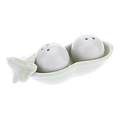Judía verde en forma de Pot Condimento de cerámica (2 unidades)