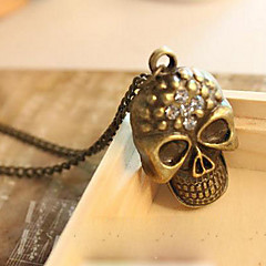 European and American retro diamond skull long paragraph sweater chain necklace N95