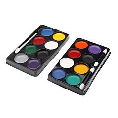 8 Colors Clown Face Paint Kit (tilfeldig farge)