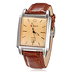 Men's Calendar Function Rectangle Case Leather Band Quartz Analog Wrist Watch (Assorted Colors)