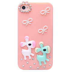 Wooden Horse Butterfly Jewelry Covered Back Case for iPhone 4/4S(Assorted Color)