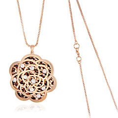 Hollow Rose FLower Pendant Necklace