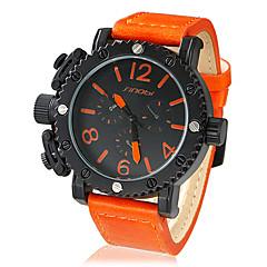 Män s Big Round Dial PU Band Quartz Analog Wrist Watch (blandade färger)