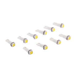 T5 1x5050SMD 10-20LM 6000K Cool White Light Bulb LED pour la voiture (12V, x10)