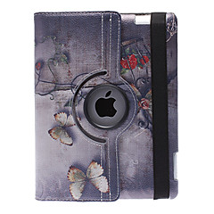 Classical Style Butterfly Pattern 360 Degree Rotatable PU Leather Full Body Case with Stand for iPad 2/3/4