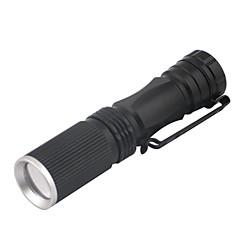 MK18 3 형태 크리 사람 XP-E Q5는 클립 (240LM, 1xAA/1x14500, 블랙 / 골드)와 함께 줌 LED 플래쉬 등
